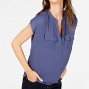 INC Olive notch neck blouse